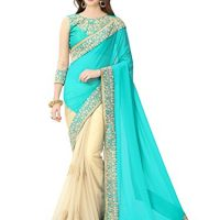 Glory Sarees Women's Georgette Saree With Blouse Piece (Sukanya Blue Saree_Blue & Beige)
